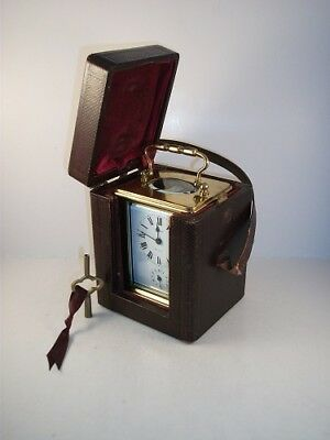 Genuine Antique Carriage Alarm Clock With Key And Travel Case. Superb Condition.