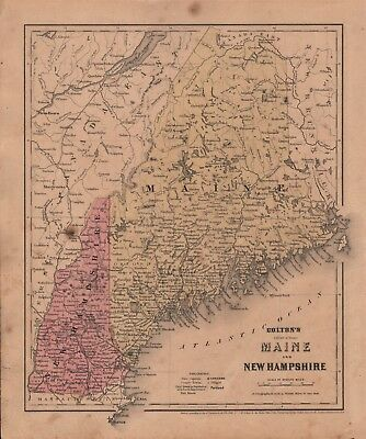 1860 Two-Sided Original J H Colton Map Maine And New Hampshire + United States