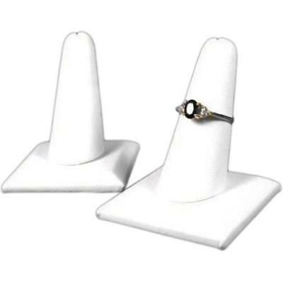 2 White Faux Leather Ring Finger Displays