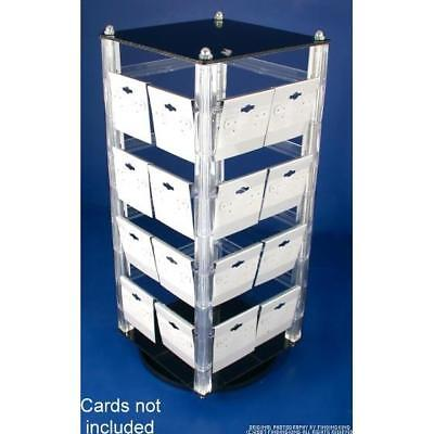 "Revolving Rotating Acrylic Earring Display Holds 32 2"" Cards"