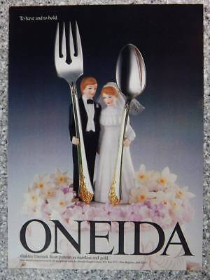 1989 Oneida Silverware Vintage Ad Page - Gold Damask Rose - Wedding Cake Topper