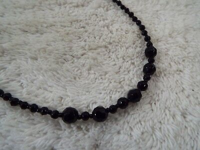Black Faceted Glass Bead Necklace (C77)