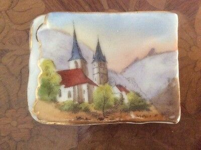 Antique German Castle Porcelain Butter Pat c1800's, p50  GREAT GIFT IDEA!!