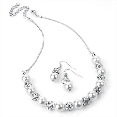 Bridal Wedding Silver and Faux Pearl Shamballa Diamante Necklace and Earring Set