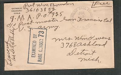 WWII Catholic Soldiers Guild cover Pvt William Bowden APO 925 Adelaide River NT