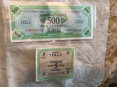1943 WWII Italy Allied Military Currency 500 Lire Banknote Fine 1 Fold & 5 Lire
