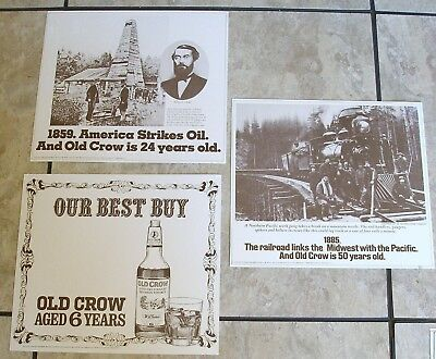 3 Vintage OLD CROW Kentucky Bourbon Whiskey Alcohol Bar Restaurant Print Ad