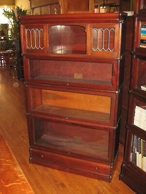 WE SHIP! Globe Wernicke Solid Mahogany 4 Stack Barrister Bookcase w/Leaded Glass