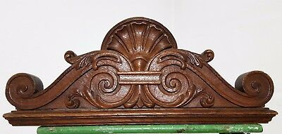 Double-Sided Hand Carved Wood Pediment Antique French Architectural Salvage