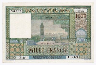 MOROCCO banknote 1000 FRANCS 1956. XF