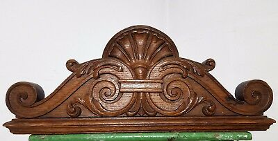 Double-Sided Hand Carved Wood Pediment Antique French Architectural Salvage *