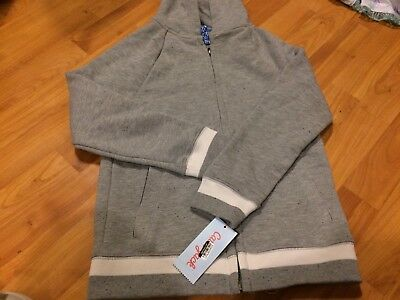 B69 Boys Cat & Jack GRAY Zip Up Hoodie Size S 6/7 SMALL With FULL Zip + Pockets