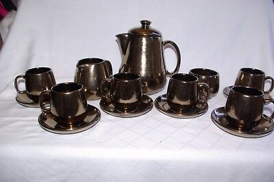 Retro 15 Piece Coffee Set Prinknash Abbey Crackle Glaze Copper Lustre Boxed
