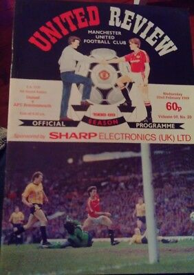 Manchester United V Bournemouth Fa Cup Programme 1988/89