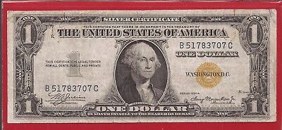 1935 A $1 Silver Certificate North Africa WW II note,yellow seal,Very Fine,Nice!