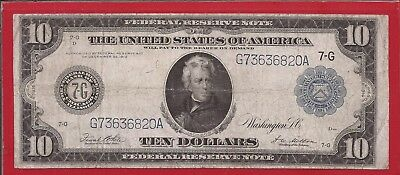 1914 $10 FRN,7-G Chicago,Large Blue Seal note,FR 931b,circulated VF,Nice