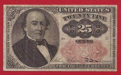 1874-1876 5th Issue 25¢ Fractional Currency,Walker Bust,Fr 1309,Fine,Nice!