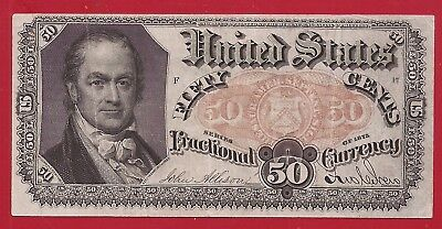 1874-1876 5th Issue 50¢ Fractional Currency,FR.1381,Crawford Bust,crisp VF,Nice!