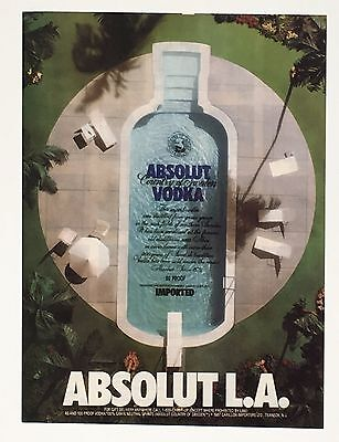 1989 Absolut Vodka Advertisement Los Angeles CA Swimming Pool Bottle Print AD