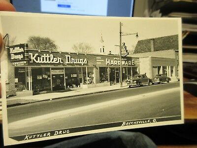 Vintage Old Postcard OHIO BRECKSVILLE Real Photo Picture Kuttler Drug Store Cars