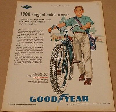 Vintage 1962 Goodyear Bicycle Tires Print Ad Paperboy March Boys Life Magazine