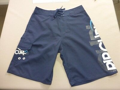 087 Boys Nwot Rip Curl Loose Fit Navy / White / Grey Boardshorts Sze 16 $70 Rrp.