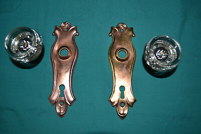 One Set Of Brass And Glass Door Knobs East Lake, Antique Vintage Architectural
