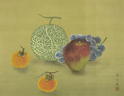 """JAPANESE HANGING SCROLL """"Melon,Grapes,Apple,and Two Persimmon""""  @f668"""