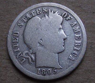 1895-O Barber Dime, The KEY Date, Full Bold Rims, Good Details, Great Album Coin