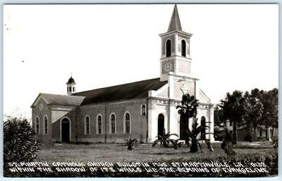 RPPC  ST. MARTINVILLE, Louisiana  LA    CATHOLIC CHURCH  ca 1940s  Postcard