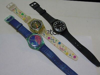 Lot Of 3 Swatch Watches  Rare L@@k  Top  Wow Vintage