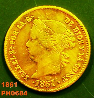 PHILIPPINES SPAIN Gold 2 Pesos 1861 circulated