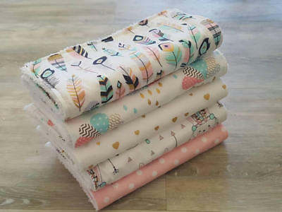 *FB* Burp Cloths Pack of 5. Feathers & Metallic Girls Prints. Lovely Baby Gift.