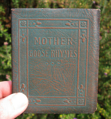 Leather Mother Goose Rhymes Antique Vintage Book Illustrated Miniature Plates NR