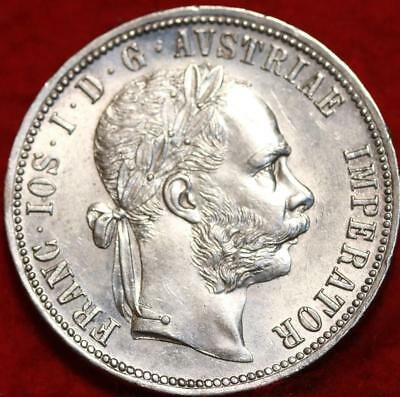 Uncirculated 1888 Austria Florin Silver Foreign Coin Free S/H