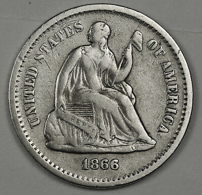 1866-s Liberty Seated Half Dime.  V.F.  118692