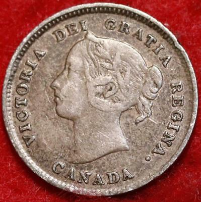 1888 Canada 5 Cents Silver Foreign Coin Free S/H
