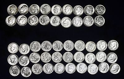 BU Set Silver Roosevelt Dimes 1946-1964. All Nice White Coins. No toning/spots.