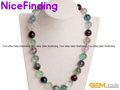 Natural Rainbow Fluorite Gemstone Beaded Protection Necklaces Fashion Jewelry