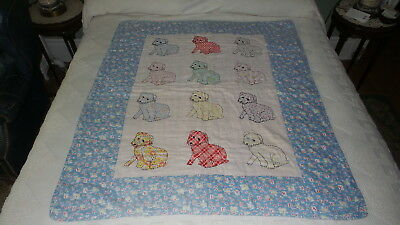 "Antique APPLIQUE CRIB QUILT Puppies, Tied, Embroidered, 49""x43"""
