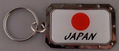 JAPAN Japanese Flag Metal Key Ring DOMED IMAGE