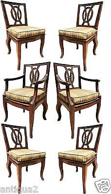 SET OF 6 ANTIQUE 1800s ITALIAN HAND-CARVED WALNUT NEOCLASSICAL DINING CHAIRS