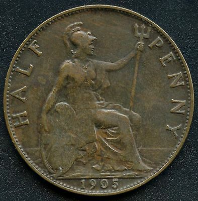 1905 Great Britain Half Penny Coin