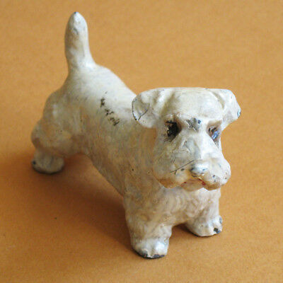 Dog Figurine Sealyham Terrier Painted Metal