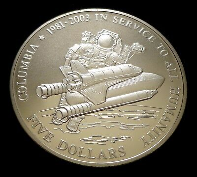 Beautiful 2003 Liberia  ~ $5 Dollar ~ Space Shuttle Columbia ~ Proof luster!