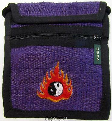 Purse Passport Bag Shoulder Strap Hemp Embroidered Ying Yang Flame
