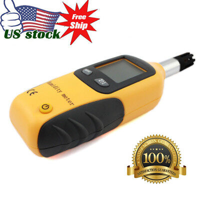 Mini Temperature Humidity Meter Tester Digital LCD Dew Point Wet Bulb Hygrometer