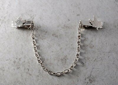 Vintage Sweater Clip Guard SIlver Tone Metal Maple Leaf Clothing Accessory
