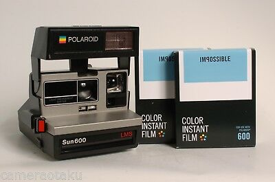 POLAROID Sun 600 LMS camera + 2 x Impossible 600 colour films PARTY kit! Exc.