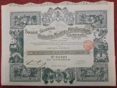 31799 RUSSIA 1897 Mining&Metallurgy in Russia 500 Francs Ordinary share cert
